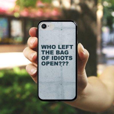 Apple iPhone X Silikon Hülle Case Schutzhülle Idiot Spruch Statement Hard Case schwarz