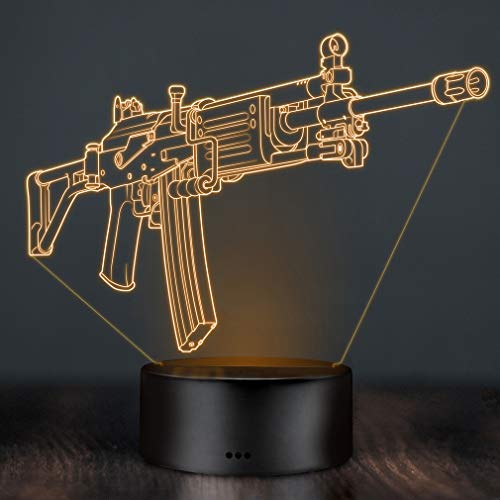 3D LED Deko Lampe CSGO Galil - Elbeffekt - Gaming Dekoration CSGO Galil - Deko Sturmgewehr Nerd Gamer Zocker Geschenk Deko Waffen