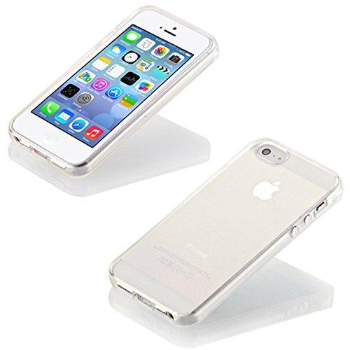 iP5 iPhone 5 / iPhone 5S SILIKON Schale Hülle Tasche Handyhülle Schutz Cover Case + PANZER GLAS FOLIE (Türkis) Farblos