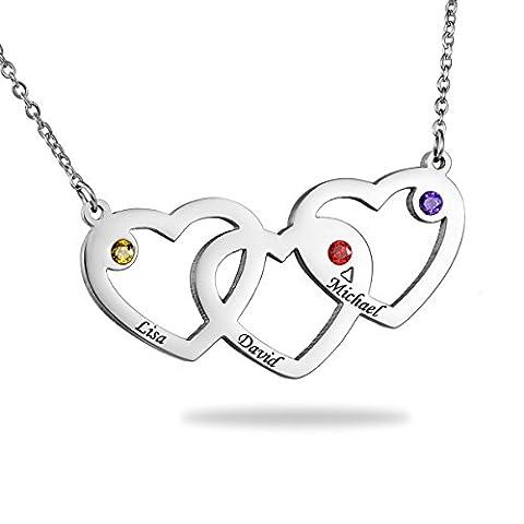 Familienname Verflochtene Herzen Halskette mit GEBURTSSTEIN - Gewohnheit mit jedem möglichem Namen gemacht!