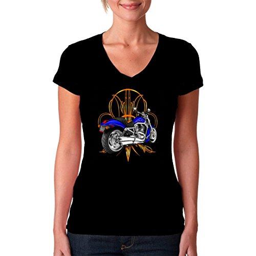 Biker Girlie V-Neck Shirt - Classic Bike mit Tribal by Im-Shirt Schwarz