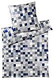 bruno banani Bettwäsche Scala 544/2 Blau Mako Satin, Größe:200x200 cm + 2 x 80x80 cm