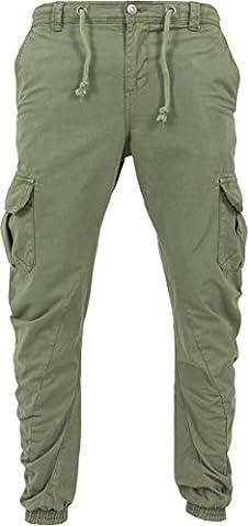 Urban Classics Herren Hose - Cargo Jogging Pants, lange Cargohose eng für Männer und Jungen, Grün (Olive), Gr.