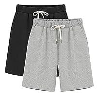 Fuwenni Women's Lightweight Casual Shorts Summer Loose Plus Size Knee-Length Bermuda Shorts Black+Grey US 18/Asia 6XL