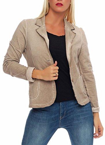 malito Damen Blazer im Washed Style | Sakko im Basic Look | Kurzjacke mit Knöpfen | Jacke – Jackett – Blouson 1652 (beige, XL) (Blazer Vintage Ein-knopf)