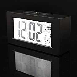Generic Fashion Stylish Multi-function big Digital Snooze Alarm Clock Light Thermometer LED Backlight Large LCD Display With Calendar Black