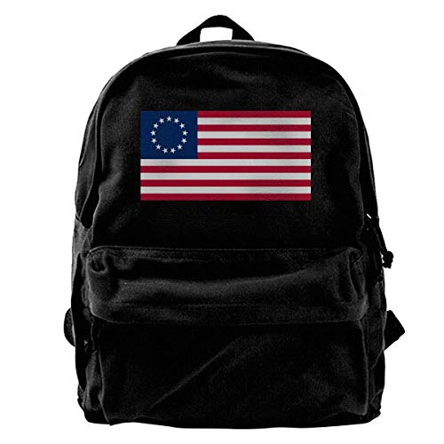 Betsy Ross US Flag Backpack Unisex Classic School Bookbags Canvas Backpack Travel Bag Duffel Bag 14Inch Laptop Bag Purse for Boy's Girl's -