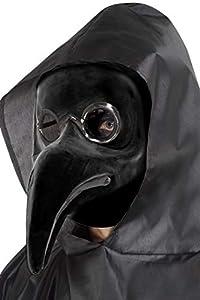 Smiffys-48317 AuténticaMáscara de Doctor de la Peste Veneciana, Color Negro, No es Applicable (Smiffy