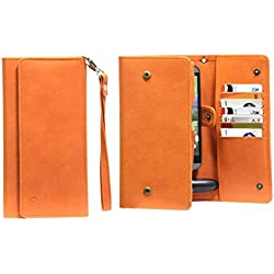 J Cover A13 I Nillofer Leather Wallet Universal Phone Pouch Cover Case For Xiaomi MI Mix 2 Orange