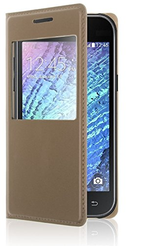 Hutz Gold Sparkle Luxury/Premium Leather Window Flip Stand Back Case Cover For Samsung Galaxy S5  available at amazon for Rs.249