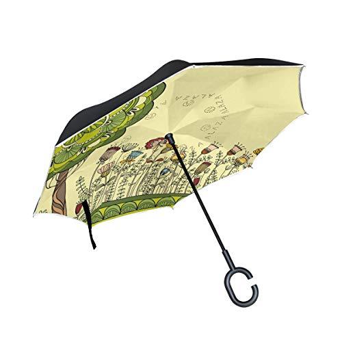 XiangHeFu Double Layer Inverted Reverse Regenschirme Funny Cartoon Bunte Blumen Baumklapp Winddicht UV-Schutz Big Straight für Auto mit C-förmigen Griff (Regenschirm Drink Sticks)