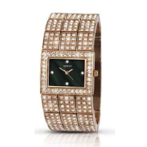 Sekonda Seksy da donna in oro rosa con cristalli Swarovski-Bracciale rigido 4858-Orologio da donna