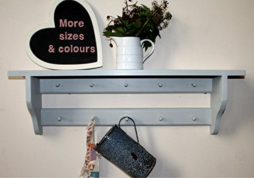 Shelf with a double rail of small Shakers pegs mid-grey