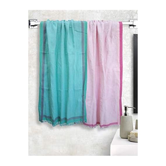 Athom Trendz Light Weight Cotton Waffle Border Bath Towel 75x150 cm Pack of 2