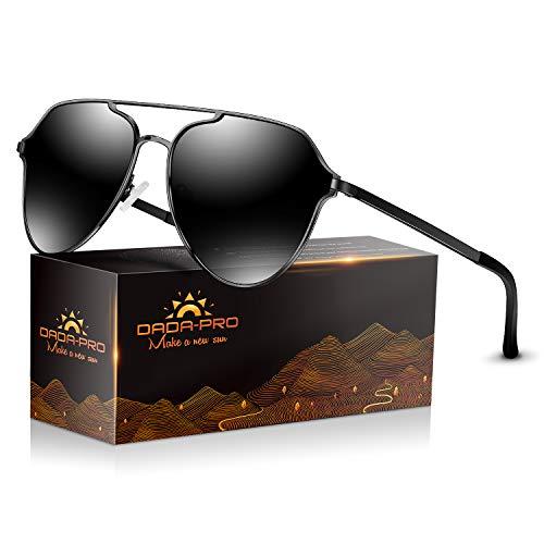 DADA-PRO Sonnenbrille Herren Pilotenbrille Damen Polarisiert Verspiegelt Retro Fahren Fahrerbrille UV400 Schutz für Autofahren Reisen Golf Party und Freizeit (Schwarz new)