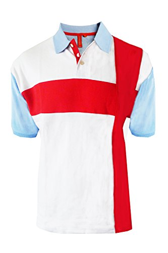 Erwachsene Polohemd England-flagge Vintage Retro St Georges Fußball Kreuz T-stück Top Hellblau - St Georg Flag