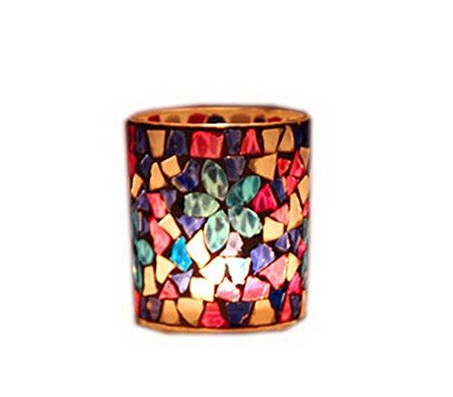 Lot de 2 bougeoirs en cristal Motif mosaïque porte-bougies chauffe-plat Bleu