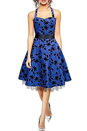 BlackButterfly 'Maisy' Satin Essence Rockabilly-Kleid (Blau, EUR 36 - XS)