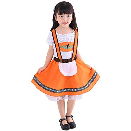 FDHNDER Child Cosplay Kleid Verrücktes Kleid Partei Kostüm Outfit Kind Mädchen Orange ethnischen Tracht Deutscher Oktoberfest, Mädchen, M (Höhe 120-130)