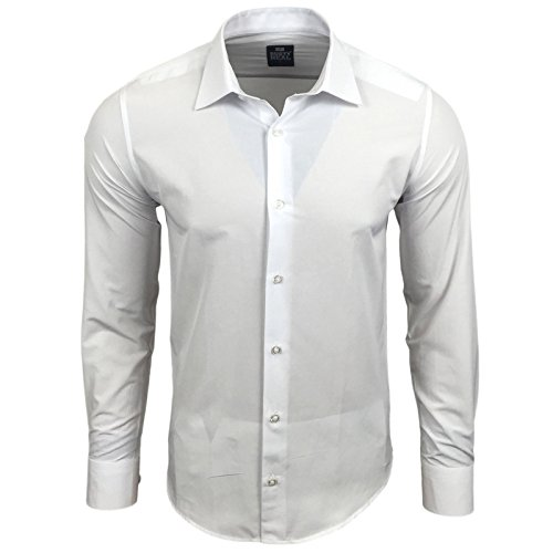 Rusty Neal Herren Einfarbig Hemd Business Hochzeit Slim Fit S bis 6XL 55 Weiß