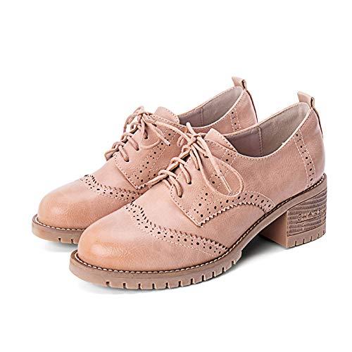 Yukun Schuhe mit hohen Absätzen Damenschuhe Frühlingsmode Kleine Schuhe Damen Dick Mit Hochhackigen College-Schuhe, 38, Apricot Pink