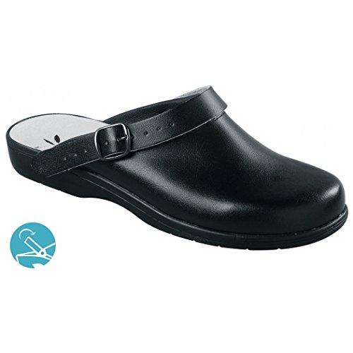 Napoli - Sabot en cuir pour femme ou homme, sans embout ISO EN 20347 (BLANC, NOIR) Noir