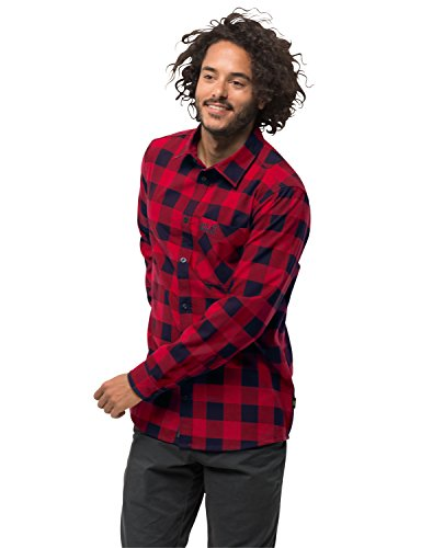 Jack Wolfskin Herren Red River Shirt Reise Freizeithemd Atmungsaktiv Hemd, rot (indian red checks), XL