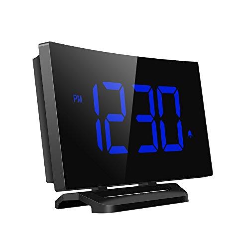 Mpow sveglia digitale, sveglia elettronica, orologio con schermo curvo con display a led 3,75'' e dimmer, 3 suoni di allarme regolabili, sveglie da comodino con snooze per camera da letto, cucina, ufficio
