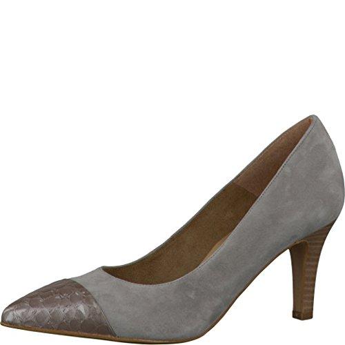 Tamaris Schuhe 1-1-22412-28 bequeme Damen Pumps, Sommerschuhe für modebewusste Frau, grau (LT GREY/CROCO), EU 39