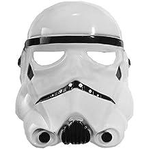 ♛ 5-8 Años - Máscara para Disfraz Traje Carnaval Halloween De Guerrero Blanco Stormtrooper Star Wars Color Blanco niño