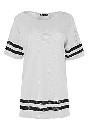 Ladies Womens Airtex Sports Stripe Shorrt Sleeve Plain Oversized T ...