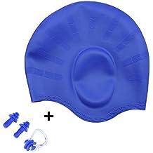 swesy silicona gorros de natación con protector de orejas para Cabello de mediano a largo–impermeable Unisex gorro de natación para hombres y mujeres, azul