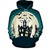 Beginfu Mode Männer Frauen Moonlight 3 D Print Langarm Halloween Kapuzenpullover Bluse Hip Hop Pullover Oberteil Cartoon Fashion Party Cocktail Winter Unheimliche Halloween