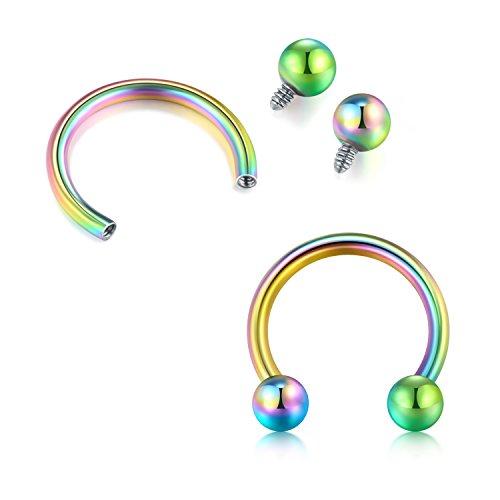 Briana Williams 1 2 mm mit innengewinde nasenseptum horseshoe augenbrauen lip tragus piercing-ring regenbogen