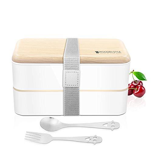 T-Buy Lunchbox Kinder 2 Tiers Bento Box Brotdose mit Löffel & Schweinefleisch   Geeignet für Erwachsene und Kinder   Mikrowellen- und spülmaschinenfest   BPA-frei (Weiß/Rosa)