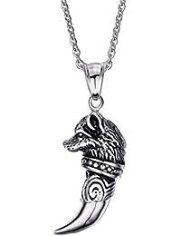 vnox para hombre pequeño de acero inoxidable Wolf diente collar colgante con libre Cable Cadena