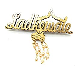 Satyam Kraft Golden Wooden Ladkewale and Ladkiwale Brooch Pins (24)