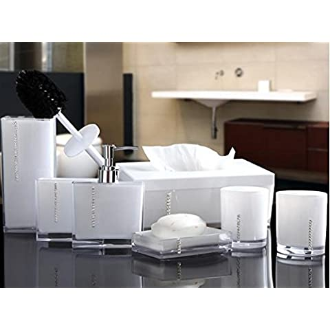 NHD-Set seven piece bathroom wash acrylic bathroom set-bathroom new housewarming gift , white - Rosa Lucido Gift Box