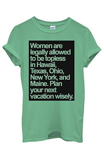 Topless Naked Women Allowed Holiday Quote Men Women Damen Herren Unisex Top T Shirt Grün