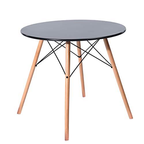 H.J WeDoo Esstisch Rund Küchentisch Modern Retro Kaffeetisch mit Buche Holz Beine Schwarz 80 x 75 cm