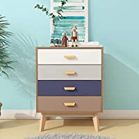 LEPAK Multi Wood Storage Cabinet with Drawers Bedroom Chest of Drawers Organizer Unit Living Room Bedroom Furniture(Natural,Chest of 4 Drawers)