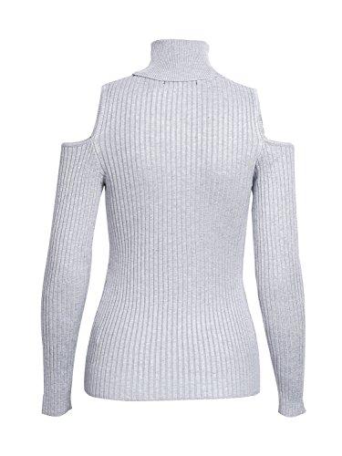 simplee abbigliamento donna fredda jumper tartaruga collo nervata maglione a top Grau