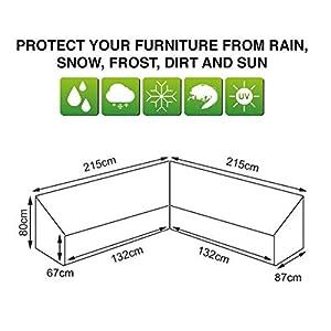 dDanke 215 x 215 x 87 x 80 cm wasserdicht staubdicht Polyester Outdoor Ecksofa L-Form Abdeckung für Terrasse Garten Lounge Sofa (Silber)