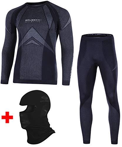 Brubeck Dry Set Funktionsunterwäsche + Sturmhaube | Ski | Motorrad | Snowboard | Radsport | Damen | Herren | Unisex | LS10180 + LE10160 + KM00010, Größen:L