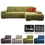 CAVADORE Schlafsofa Mistrel mit Longchair XL rechts / Große Eck-Couch im modernen Design / Mit Bettfunktion / Inkl. verstellbare Kopfteile / Wellenunterfederung / 273 x 77 x 173 / Grün