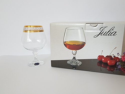 Kristall Gläser Bohemia -- Julia -- 6 er Set-- Gold (Cognacglas 6 x 400 ml)