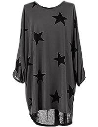Mujeres túnica de talla grande Vestidos Casual Star Print 3/4 de manga larga redonda Loose Top