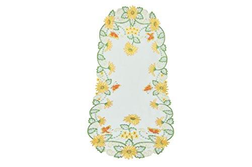 Bellanda 80276-40 x 100 cm Motif Fleurs carré Chemin de Table Polyester Blanc 40 x 100 cm