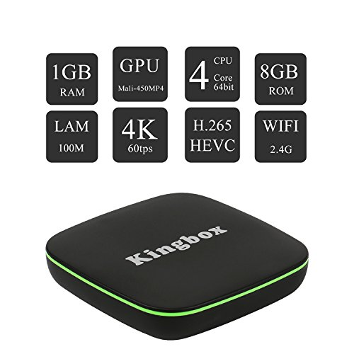 Kingbox Android TV Box  K1 Android 7.1 Box Compatible con 4K (60Hz) Full HDMI / H.265 / Bluetooth 4.0 / WiFi 2.4GHz Android Smart TV Box [2018 Última Edición]