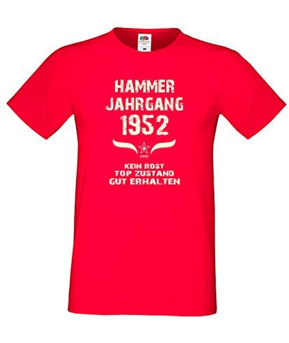 Sprüche Motiv Fun T-Shirt Geschenk zum 65. Geburtstag Hammer Jahrgang 1952 Farbe: schwarz blau rot grün braun auch in Übergrößen 3XL, 4XL, 5XL rot-01